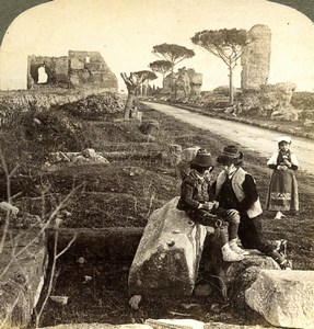 Italy Roma Rome Via Appia Tombs & Children Old Underwood Stereoview Photo 1900