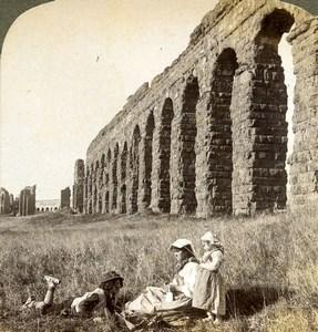 Italy Rome Rome Roman Aqueduct Aqua Claudia Old Underwood Stereoview Photo 1900