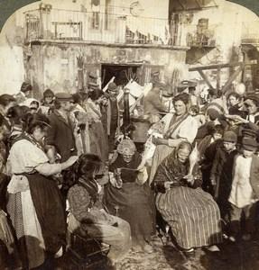 Italie Naples les Lazaroni ancienne Photo Stereo Underwood 1900