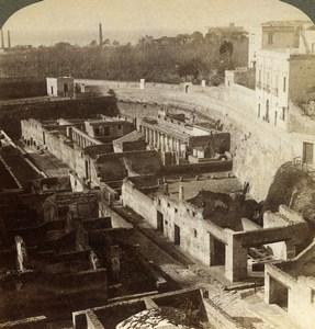 Italy Herculaneum Ruins Old Underwood Stereoview Photo 1900