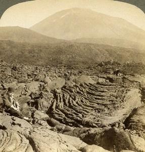 Italy Base of Vesuvius Lava Old Underwood Stereoview Photo 1900
