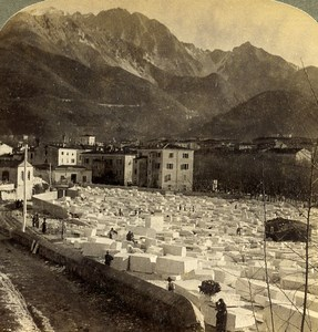 Italie Carrare Carrara blocs de Marbre ancienne Photo Stereo Underwood 1900