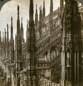 Italie Milan Milano Cathedrale Ancienne Photo Stereo Underwood 1900