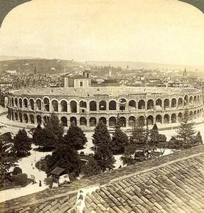 Italy Verona Arena Roman Amphitheater Old Underwood Stereoview Photo 1900