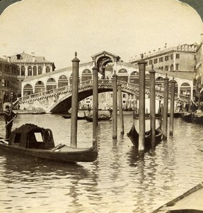 Italy Venice Venezia Grand Canal Rialto Bridge Underwood Stereoview Photo 1900