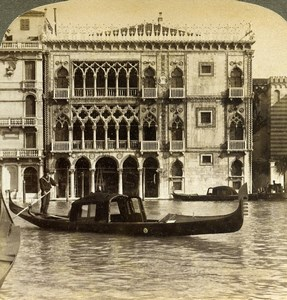 Venice Venezia Grand Canal Palazzo Ca' d'Oro Old Underwood Stereoview Photo 1900