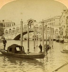 Italy Venice Grand Canal & Rialto Bridge Old Underwood Stereoview Photo 1900
