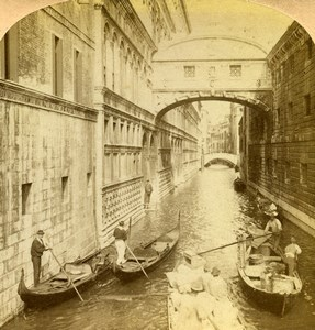 Italy Venice Venezia Bridge of Sighs Old Underwood Stereoview Photo 1900