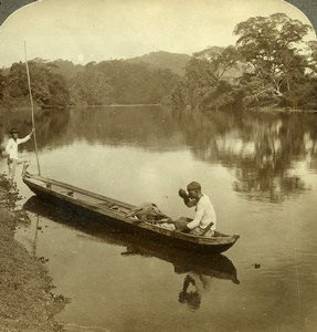 Panama Exploring Chagres River 2 men Pirogue Canoe Old Stereoview Underwood 1907