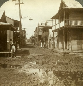 Panama Colon Cass Street typical Negro quarter Old Stereoview Underwood 1904