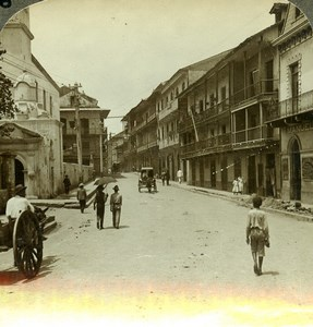 Panama Nice Street of Panama Old Stereoview Underwood 1904