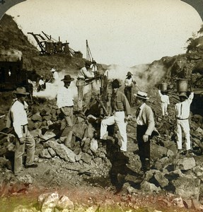 Panama Canal Construction Workers Steam drill Old Stereoview Underwood 1904