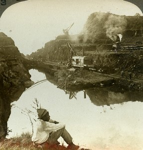 Panama Canal Construction Bas Obispo Cut Old Stereoview Underwood 1904