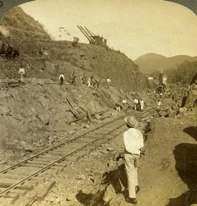 Panama Canal Construction Bas Obispo Cut Old Stereoview Underwood 1906