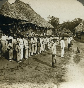 Panama Soldiers Guarding Village near Columbia Old Stereoview Underwood 1907
