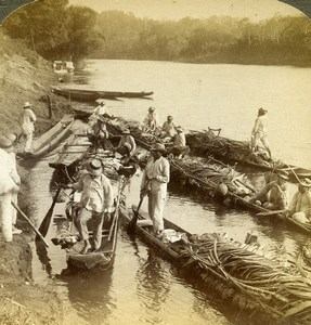 Panama Bayano River Indians Supplying Soldiers Old Stereoview Underwood 1904