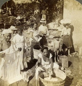 Panama Village Native Indian Life Washerwomen Photo Stereoview Underwood 1904