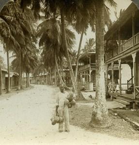 Panama Canal Construction street of Cristobal Stereoview Underwood 1904