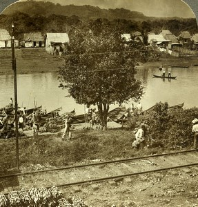 Panama Canal Construction Railroad Chagres River Old Stereoview Underwood 1907