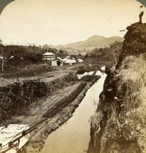 Panama Canal Construction unfinished cut Obispo Old Stereoview Underwood 1904