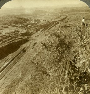 Panama Canal Construction unfinished cut Culebra Old Stereoview Underwood 1906