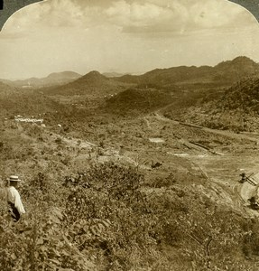 Panama Canal Construction Top of Culebra Cut Old Stereoview Underwood 1907