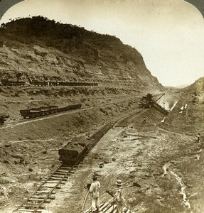 Panama Canal Construction Culebra Cut Railroad Old Stereoview Underwood 1904