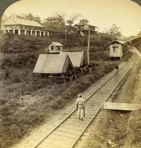 Panama Railway Canal Construction Soldiers near Obispo Stereoview Underwood 1904