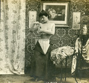 Woman Artistic Study Semi Nude Risque La Puce N.4 Old Photo Stereo SIP 1900