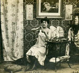 Woman Artistic Study Semi Nude Risque La Puce N.9 Old Photo Stereo SIP 1900