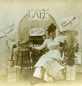 USA Naughty Series A Pousse Cafe Woman Alone Old Stereoview Photo 1900