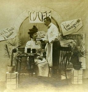 USA Naughty Series A Pousse Cafe Woman & Waiter Old Stereoview Photo 1900