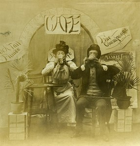 USA Naughty Series A Pousse Cafe Woman & Man Drinking Old Stereoview Photo 1900