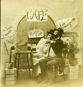 USA Naughty Series A Pousse Cafe Woman & Man Drink Old Stereoview Photo 1900