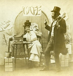 USA Naughty Series A Pousse Cafe Woman & Man Old Stereoview Photo 1900