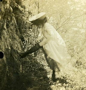 USA Naughty Series Woman in Woods Stamped Police Plunkett Old Stereoview 1910's
