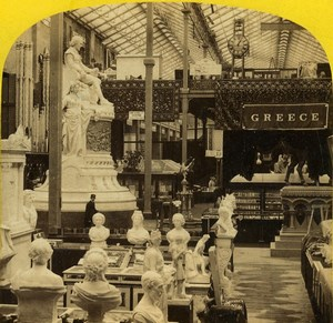London 1862 International Exhibition Grecian Court Greece Old Stereoview Photo