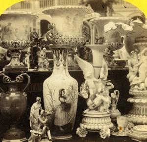 London 1862 International Exhibition Dresden Porcelain Old Stereoview Photo