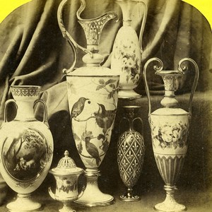 London 1862 International Exhibition Ewers Vases Duke & Co Old Stereoview Photo