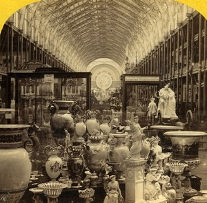 London 1862 International Exhibition Nave from Western Dome Old Stereoview Photo
