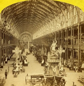 London 1862 International Exhibition Nave from Eastern Dome Old Stereoview Photo