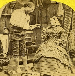 The Convenience of Married Life Scene de Genre Old Stereoview 1865