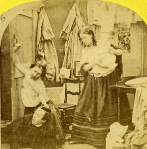 Curiosity Punished Scene de Genre Old Stereoview Photo 1865