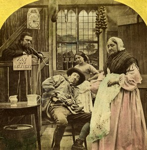 Touch Pot Touch Penny Scene de Genre Old Hand-colored Stereoview Photo 1865
