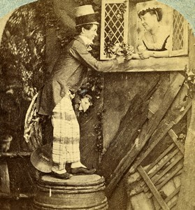 Ireland? Scene de Genre Love on a Tub Old Stereoview Photo 1865