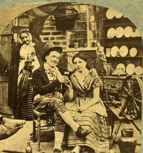 Ireland Scene de Genre Barney's Blarney Old Stereoview Photo 1865