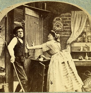 Royaume Uni Scene de Genre Family Jars la Dispute ancienne Photo Stereo 1865