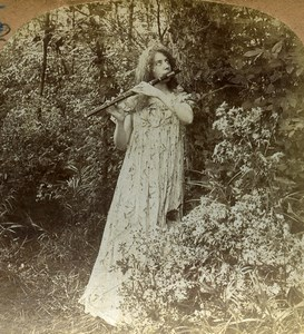USA Woodland Echoes Flute Player Old Keystone Stereoview Photo 1901
