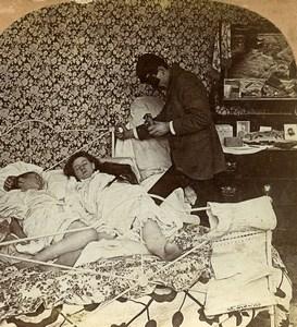 Scene de Genre They little dream of their peril Keystone Stereoview Photo 1899