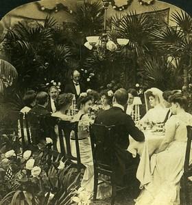 USA Scene de Genre the Wedding Breakfast Old HC White Stereoview Photo 1902